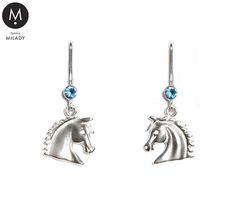 VŠECHNY ŠPERKY   Náušnice koně Vivian a přírodní kámen akvamarín - světle modré   MILADY šperky, jezdecké a koně