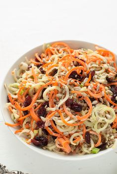 Spiralized Broccoli-Stem Carrot Slaw with Dried Cranberries