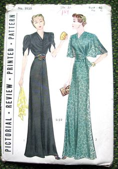 Used 1930s gown sewing pattern by Pictorial Review by Fancywork, $75.00