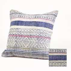 Simla Large Blue Pattern Cushion : The perfect addition to your sofa or bed. Gorgeous cushion with a subtle geometric design.   Blue or Orange colourway available.