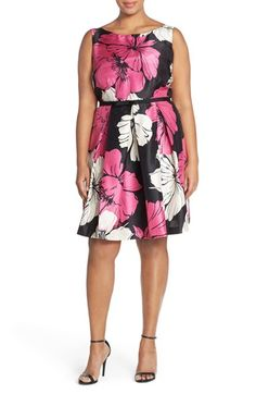 Gabby Skye Floral Print Fit & Flare Dress (Plus Size)