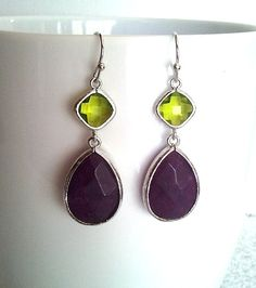Green and Deep Purple Wedding earrings, Drop, bridesmaid gifts, Gemstone,Wedding jewelry,Dangle, christmas gift, cocktail jewelry on Etsy, $32.50