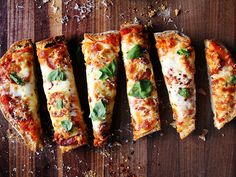 Ciabatta pizza from Saveur. No time to make your own dough? Use a loaf of bread for the crust and… Empanadas, Pizza Recipes, Dinner Recipes, Easy Recipes, Weekly Recipes, Cheese Recipes, Quiche, Sandwiches, Savory Tart