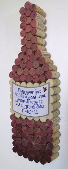 Handmade Wine Cork Wine Bottle Cork Board with Hand Cut Label, Personalized Calligraphy Quote, Add Date for Wedding or Anniversary. $85.00, via Etsy.