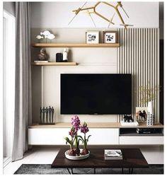 Apartment Interior, Home Living Room, Cozy Living Rooms, Living Room Decor, Interior Design Living Room, Living Room Partition Design, Room Partition Designs, Tv Wall Design, Living Room Wall Units