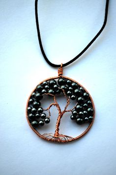 Tree Of Life Necklace Pendant with onyx beading by SpearCraft, $13.00