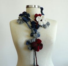Crochet lariat scarf handmade crochet flower by Ozlempunchneedle, $15.00
