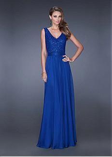 Charming Tulle & Satin Chiffon V-neck Neckline Floor-length A-line Prom Dress