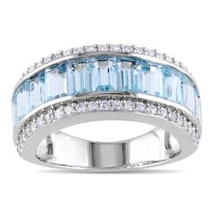 Blue Topaz and white sapphire