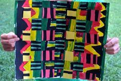 Great resources to teach kids about Ghanian kente cloth, plus instructions to make your own version with paint and paper weaving!