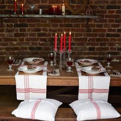 French vintage linen runners laid across rather than down the table.