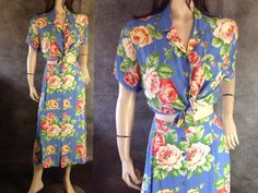 Vintage Romantic Floral 2 Piece Dress Set #sixcatsfunVINTAGE  $14 #teadress #mididress #sixcatsfun #2piecedress #jonesnewyork