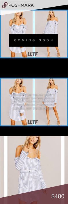 """Striped Shirt Dress-BLUE/WHITE Striped Shirt Dress featuring:  Off the shoulder Buttons down front  97% Cotton 3% Spandex  Model is 5""""9 wears a small Dresses"""