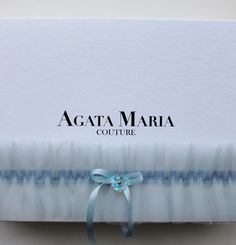 Something Blue, Swarovski Soft Tulle Wedding Bridal Garter with Silk Ribbon