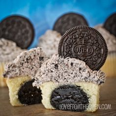 oreo truffle stuffed cupcakes with cookies and cream frosting