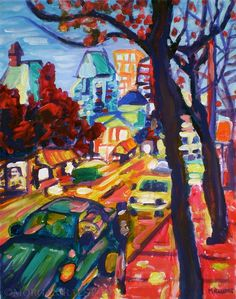 """ORIGINAL acrylic painting on stretched canvas - Rushing From Downtown - 14"""" x 18"""""""