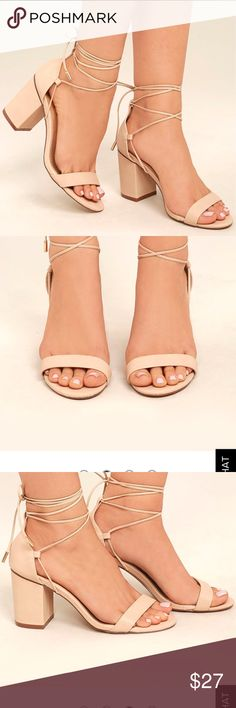 """Lulu's size 8.5 """"Kaira Beige Lace-Up Heels"""" https://www.lulus.com/products/kaira-beige-lace-up-heels/452512.html NEVER WORN!  Got them for graduation but last minute changed my dress and then these shoes didn't work with it.  Super cute and comfortable! Only selling bc I'm trying to save for a puppy.  Lmk if you have an questions! Lulu's Shoes Heels"""
