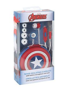 Marvel Avengers Captain America Earbuds, - Visit to grab an amazing super hero shirt now on sale! Marvel Avengers, Marvel Funny, Marvel Dc Comics, Captain America Merchandise, Super Hero Shirts, Die Rächer, Marvel Clothes, Marvel Characters, Hot Topic