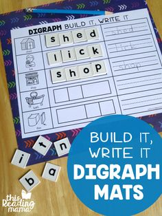 Build it Write it Digraph Spelling Mats - This Reading Mama - Working on digraphs? These Blend and Write Digraph Spelling Mats are a hands-on way to practice them! These mats include 5 common digraphs of ch, ck, ng, sh, and th. Reading Games, Reading Resources, Reading Activities, Teaching Reading, Teaching Grammar, Reading Centers, Free Reading, Learning, Spelling Activities