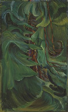 Cedar, 1942 oil on canvas Collection of the Vancouver Art Gallery, Emily Carr Trust Photo: Trevor Mills, Vancouver Art Gallery Canadian Painters, Canadian Artists, Tom Thomson, Impressionist Paintings, Landscape Paintings, Emily Carr Paintings, Illustrations, Illustration Art, Group Of Seven Artists