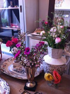 Gorgeous vases on sale in Phoenix on Golborne, my favourite shop(http://www.phoenixongolborne.co.uk/) and flowers from Scarlett & Violet (http://www.scarletandviolet.com/)