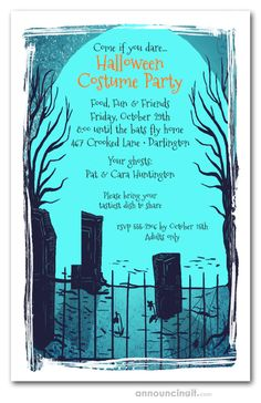 HALLOWEEN PARTY INVITATIONS: A spooky graveyard, tombstones and trees,  perfect design for Halloween party invitations, kids Halloween birthday invitations, Halloween costume party invitations. | See our entire collection at Announcingit.com