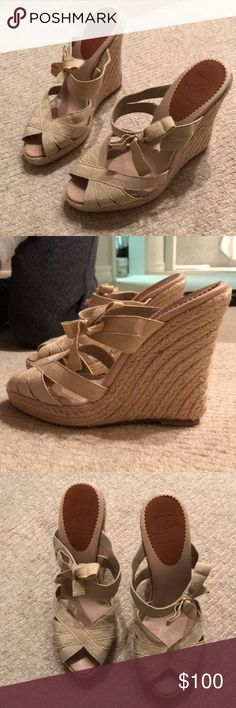 CHRISTIAN LOUBOUTIN ESPADRILLES!!!! These Christian Louboutin espadrilles are in amazing condition and have barely been worn! They are very comfortable and true to fit!!! They have a matte gold lame ribbon Christian Louboutin Shoes Espadrilles