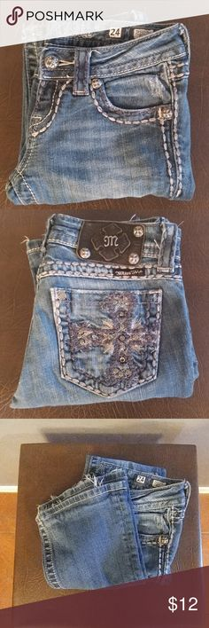 """Miss Me Jeans Blue Jeans W/Blue & White Stitching, 26"""" Waist and 28"""" Inseam, Cotton and 2% Elastane Bundle and Save Miss Me Jeans"""