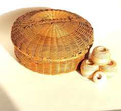 Native American Penobscot Indian Basket Sweetgrass and Splint