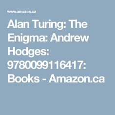 Alan Turing: The Enigma: Andrew Hodges: 9780099116417: Books - Amazon.ca