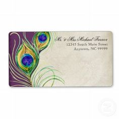 Peacock Feathers Modern Wedding Shipping Labels