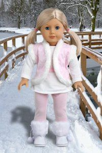 Amazon.com : Snowflake - 4 piece outfit includes, leggings, long sleeve tunic, vest and boots - 18 Inch American Girl Doll Clothes : Fashion Doll Clothing And Shoes : Toys & Games