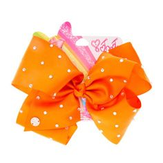 Large bright orange bow with rhinestones from Claire's Jojo Siwa Hair, Jojo Siwa Bows, Jojo Hair Bows, Jojo Bows, Jojo Siwa Birthday, 22nd Birthday, Big Bows, Cute Bows, Girls Hair Accessories
