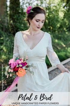 A stunning styled shoot focusing on eco friendly wedding ideas featuring Paper Flower handcrafted by Petal & Bird Paper Flowers Wedding, Floral Wedding, Wedding Bouquets, Wedding Dresses, Wedding Styles, Wedding Ideas, Sustainable Wedding, Paper Bouquet, Alternative Wedding