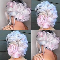 FrenchEconomie™️ Fall 2018 Sexy Hairstyles and Hair colours: pastel blue and pink over ice blonde FrenchEconomie ™ ️ Herbst 2018 . Hair Styles 2016, Long Hair Styles, Pelo Multicolor, Unicorn Hair Color, Short Thin Hair, Mermaid Hair, Dream Hair, Rainbow Hair, Cool Hair Color