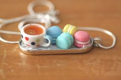 Macarons and a cup of tea polymer clay pendant by Zuleykha on Etsy, $21.00