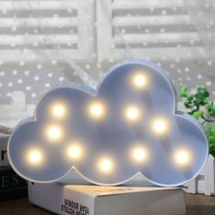 Holiday Lighting Sincere Decorative Led Crescent Moon Cloud And Star Night Lights Lamps Marquee Signs Letters For Baby Nursery Decorations Gifts