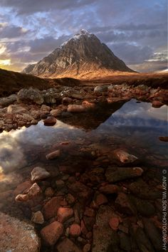 Buachaille Mor Etive.  Sunrise at Glen Etive, Scotland.  by Andy Wilson.