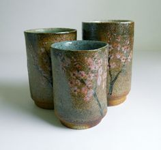 3 HandPainted Cups  woodfired