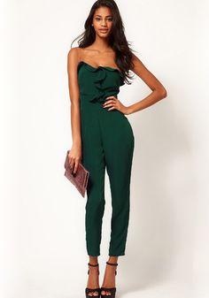 Green Plain Sewing Skinny Long Jumpsuit