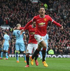 Smalling heads United's fourth from a Young free kick. Soccer M, Free Kick, Red Army, Manchester United, Old Trafford, First Love, Kicks, The Unit, Football