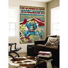(48x72) Marvel Comics Retro: Captain America Comic Panel; Smashing through Window (aged) Huge Wall M @ niftywarehouse.com