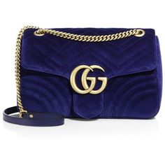 Gucci GG Marmont Medium Quilted Velvet Shoulder Bag (€1.505) ❤ liked on Polyvore featuring bags, handbags, shoulder bags, gucci, borse, blue purse, man bag, gucci handbags, quilted shoulder handbags and shoulder hand bags