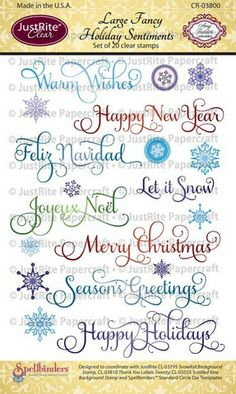 Large Fancy Holiday Sentiments Clear Stamps  Wish List