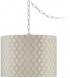 Swag Chain Lamps   Embroidwred Hourglass Swag Style Plug-in Chandelier (w2871) .
