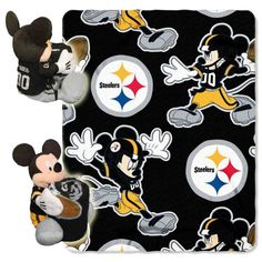 NFL - Disney Pittsburgh Steelers Mickey Mouse Plush & Blanket Set: I want one! Mickey Mouse Characters, Disney Mickey Mouse, Steelers Blanket, Pittsburgh Steelers Merchandise, Steelers Gear, Steelers Stuff, Steeler Football, Football Gear, Football Stuff