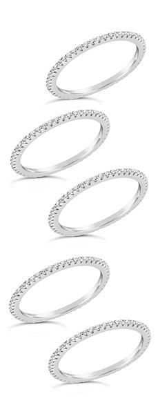 b44675245f0 Sterling Silver CZ 5pc Stacking Band Set