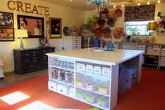 love everything about this craft room . . .  can not wait to start mine in the basement !
