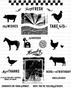 """""""On the Farm"""" stamp set by PapertreyInk.  That background stamp is amazing. $24"""