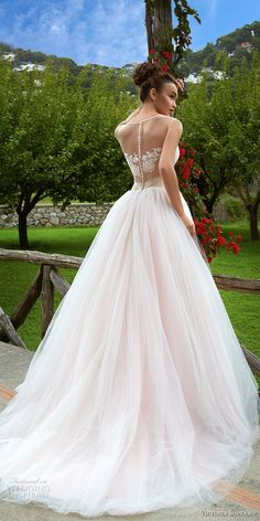 victoria soprano 2017 bridal cap sleeves illusion jewel sweetheart neckline heavily embellished princess blush color ball gown wedding dress sheer button back chapel train (climentina) bv -- Victoria Soprano 2017 Wedding Dresses